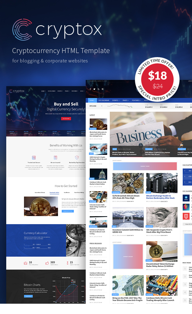 Cryptox - Cryptocurrency HTML Template - 1