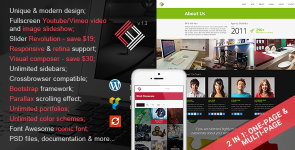 Loft Studio - 2 in 1 Parallax Wordpress Theme