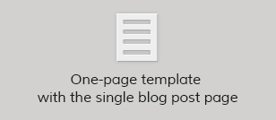 One-page template with the single blog post page
