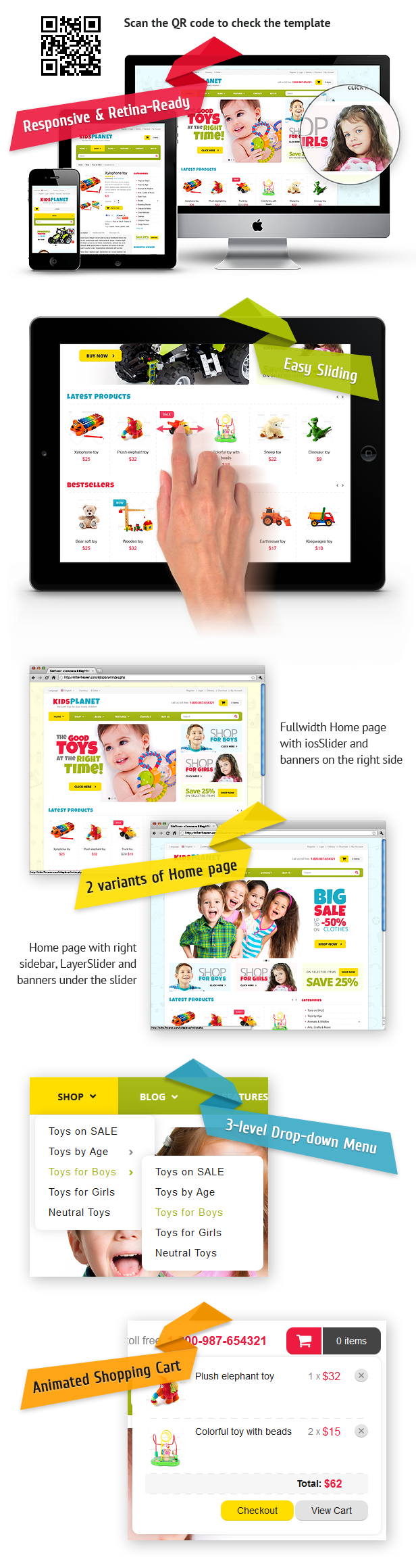 Kids Planet - Responsive Ecommerce/Blog HTML Theme - 1