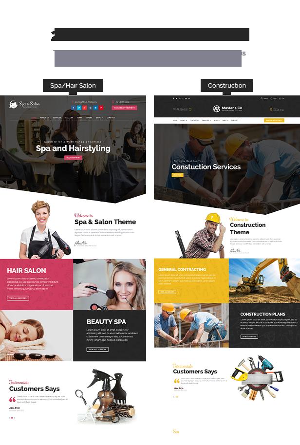 Beauty Salon & Construction Services WordPress Theme - 1