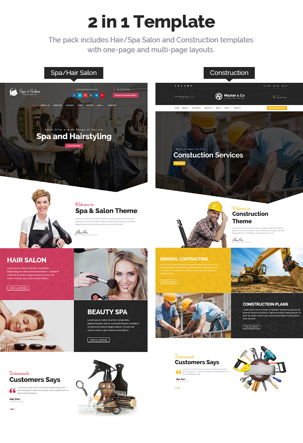 Beauty & Construction Services HTML Template - 1