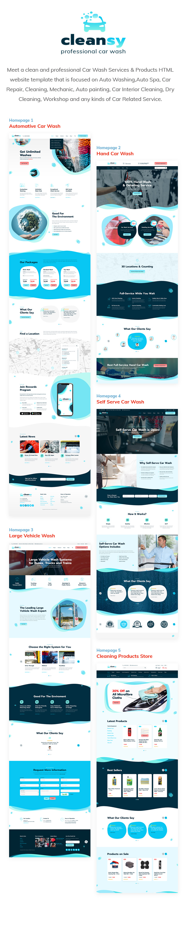 Cleansy - Car Wash Services & Products HTML Template - 1