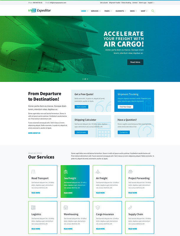 Expeditor - Logistics & Transportation WordPress Theme