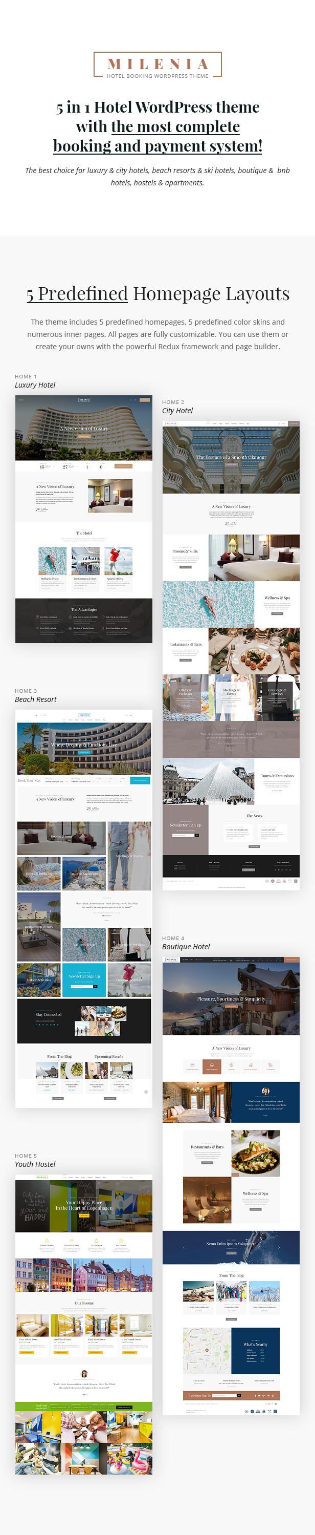 Milenia - Hotel & Booking WordPress Theme - 1