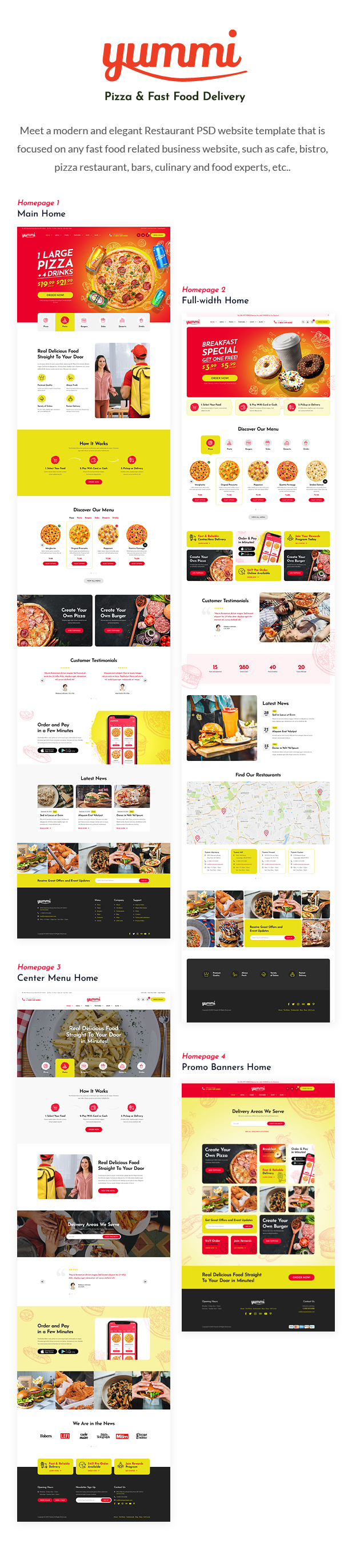 Yummy - Fast Food Delivery Restaurant PSD Template - 1